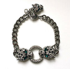 Butler and Wilson Crystal Leopard Head Ring SILVER Tone Chain Bracelet NEW