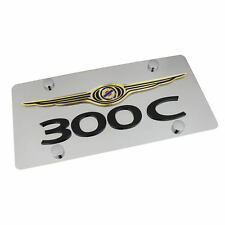 Chrysler Wing Logo + 300C Name On Polished Stainless Steel License Plate