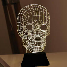 Unbelievable LED 3D Illuminated Skull Illusion Light Sculpture Desk Lamp Night
