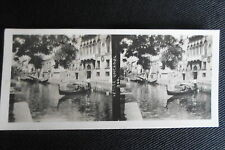 PHOTO STEREOSCOPIQUE ITALIE VENISE UNICANAL GONDOLE 1905
