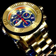 Invicta Sea Hunter Sport 50mm Gold Plated Swiss Made Blue Chronograph Watch New