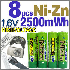 8 pcs 2500mWh 1.6V AA 2A NiZn Rechargeable Battery PowerGenix