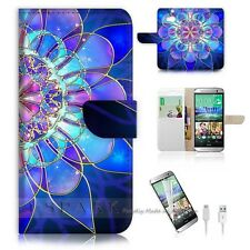 HTC One M8 Flip Wallet Case Cover! S8274 Abstract