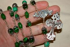 Irish Celtic inspired Wire Wrapped Sterling Unbreakable Rosary: LG 729