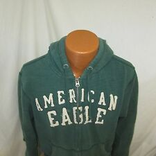 (Large) Men's American Eagle Outfitters Green Graphic Zippered Hoodie