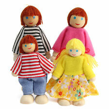 4pcs Wooden House Family People Dolls Set Kids Children Pretend Play Toy Gift
