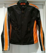 Biker Design BD Jacket Coat Black Orange Nylon Cotton Blend Sz Small Motorcycle