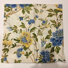 """Pottery Barn Linen Blend PAIR 20"""" Square Blue Yellow Floral Pillow Covers"""