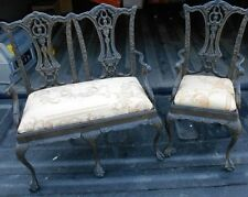 "VINTAGE HEAVY TOY DOLL GARDEN PATIO CHAIR LOVE SEAT OR SAMPLE 17"" TALL"