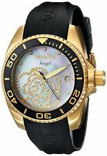 Invicta Women's Angel Collection Cubic Zirconia-Accented Watch Black PU Band