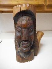 Solid Wood African Face Statue Stump Hand Carved 16 Inches Tall