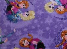 Disney Frozen Ice Skating Lilac Elsa and Anna Polyester Fleece Fabric Half Metre