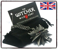 NEW OFFICIAL Witcher 3 Wild Hunt RED EYES Medallion/Necklace+BlackPouch+Card