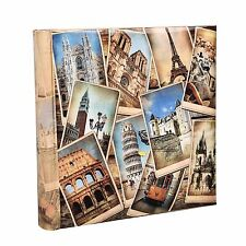 Vintage Collage UK-European Travel Memo Photo Album for 200 Photos 4 x 6'' FB200
