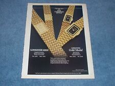 """1986 Longines 1000 & Gold Medal Vintage Watch Ad """"The Longines Style"""""""