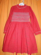 Vintage (New) Brierley's Traditional Hand Smocked Red Girl's Party Dress, Age 7