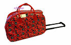 "Owl 21"" rolling duffle bag carry on luggage bag in-line skate wheels (red)"