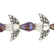"Angel Crystal Glass Beads Strand Silver Heart Wings Halos 1"" Angels"