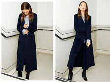 NEW ZARA STUDIO NAVY BLUE WOOL BLEND HAND-MADE MAXI COAT SIZE L (12 TO 14 UK)