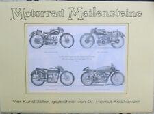 Motorrad Meilensteine - 4 Kunstblätter Krackowizer Moto Guzzi Gilera Benelli