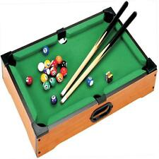 DELUXE MINI TABLE TOP POOL SET CHILDRENS CUE BALLS TOY SNOOKER GAME XMAS GIFT