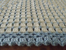 Handmade NEW crochet baby  blanket  White & blue Afghan Shawl lap