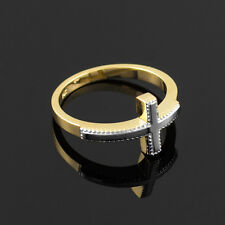 Two-Tone Solid Gold Sideways Cross Ring (Yellow, and Rose Gold)