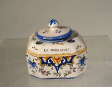 Antique Faience La Bourboule Majolica Maiolica Inkwell Stationary Signed French