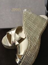 Jimmy Choo Light Gold Mirror Wedges 39 /8- 8.5  US $525