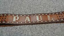 Boy Scout Hand Tooled Leather Belt- Monogrammed Name PAUL - Size 44-No Buckle