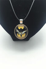 Vintage Batman and lamp Cabochon Glass Tibet Silver Pendant Leather Necklace New