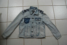 Light Blue Denim ROCK & REPUBLIC Button Front Jean Jacket w/Pattern Inset Large