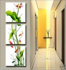 Home Decor handmade art oil painting Picture on canvas (No Stretch) Lotus 3PC