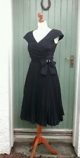 Vintage Simon Ellis 40s 50s Black Evening Dress Sunray Pleats Full Skirt Size 10