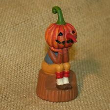 Pumpkin Head Monster Log Blossom Bucket Resin Figurine Halloween