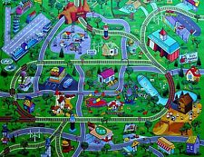 Large Town Airport Train Track Street Road Play Mat. Car Farm Kid Big Rug Home