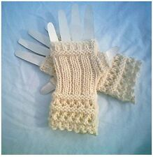 Pattern Winter White Fingerless Glove Open Lace by CarussDesignZ 0014