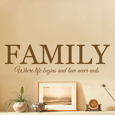 family Quote Mural Words Art Vinyl Wall Sticker Home Kitchen Room Decal Decor
