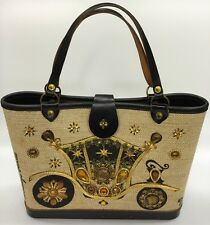 Vintage Enid Collins Carriage Trade Jeweled Purse Brown Gold Leather Canvas Wood