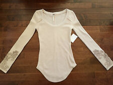 NEW We the Free People Small S Masquerade Cuff Thermal Lilac Tee Top Boho Pink