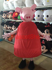 Xmas NEW Adult Size Peppa Pig Mascot Fancy Party Costume COSPLAY Free Ship