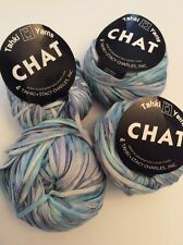 Lot Of 4 Tahki Yarn Chat Ribbon Tape Blue Variegated Cotton Stacy Charles 01