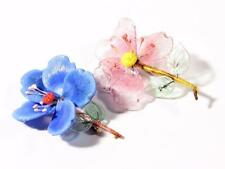 (2) Vintage Czech art glass hand wired lampworked pink blue floral pin brooches