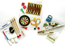 3 packs of Sports / Hobby themed Stickers,  Darts & Games, Cricket & Fishing