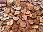 50 X Wooden Love Hearts - Craft Scrapbook Card Embellishments Wedding Charms UI