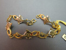 "VTG Damascene Fish Link Bracelet Chain Unique 7.5"" New Old Stock Tags Made Spain"