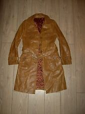 VINTAGE 70S TAN LEATHER WESTERN QUILTED COAT WITH BELT M SLIM