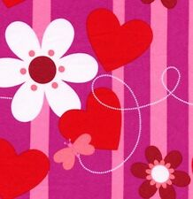 1 yard Valentine's- Hearts/ Flowers/ Butterflies Pink Striped 100% Cotton Fabric