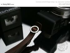 GARIZ Leather Wrist Finger Strap Dark Brown XS-WFSN3 M43 Sony NEX Lumis Olympus