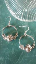 Hoop earrings chain/metal bead/wire wrap/hooks silver plated findings handmade